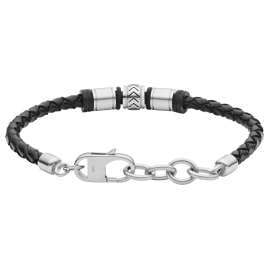 Fossil JF03385040 Men's Bracelet Cuff Stainless Steel Black Leather