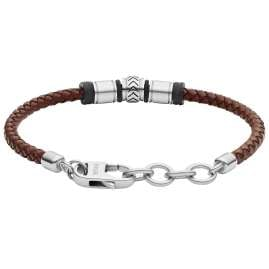 Fossil JF03386040 Men's Bracelet Cuff Stainless Steel Brown Leather