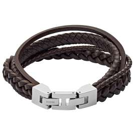 Fossil JF03190040 Men's Leather Bracelet Brown Multi-Strand