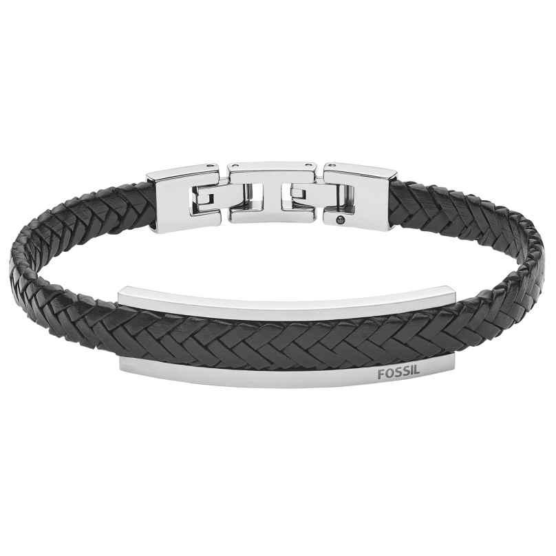 Fossil JF03437040 Herren-Armband Leder Schwarz 4048803212578
