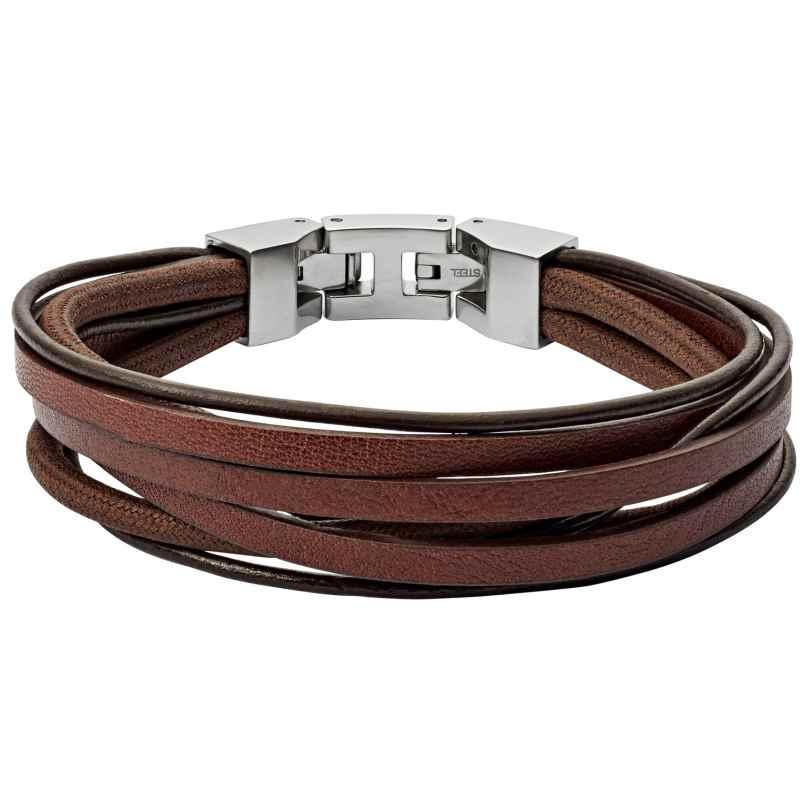 Fossil JF03184040 Herren Leder-Armband Braun Multi-Strand 4013496532166