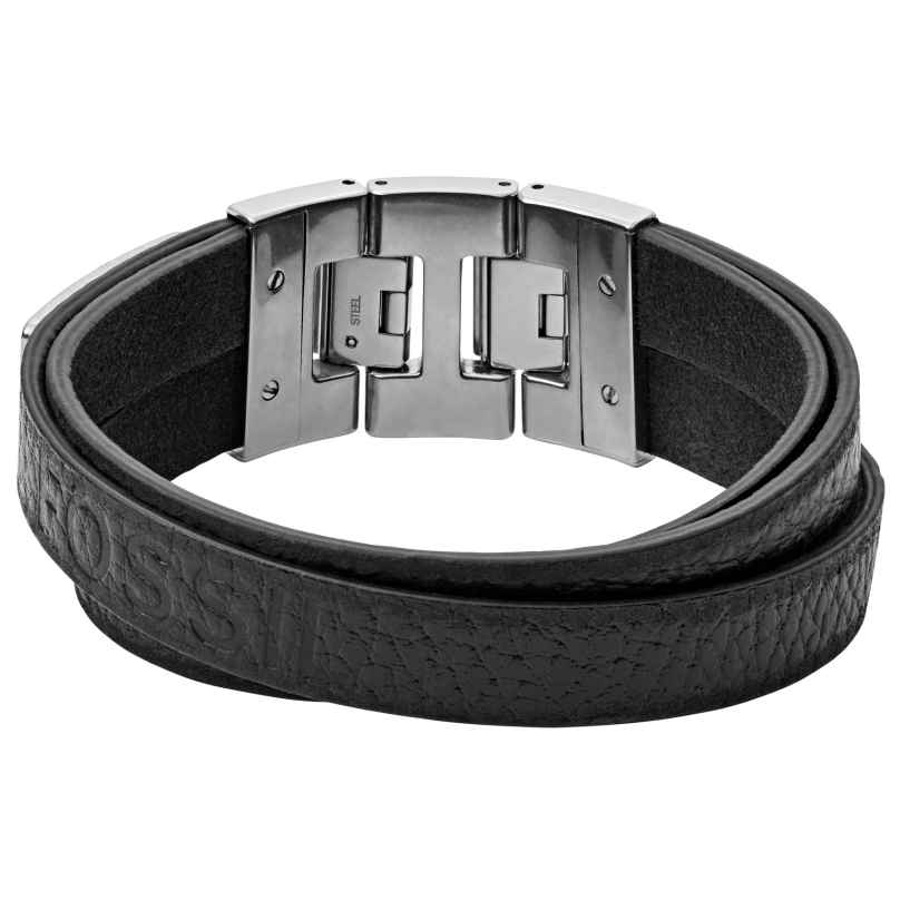 Fossil JF03189040 Herren-Armband Leder Schwarz 4013496532135
