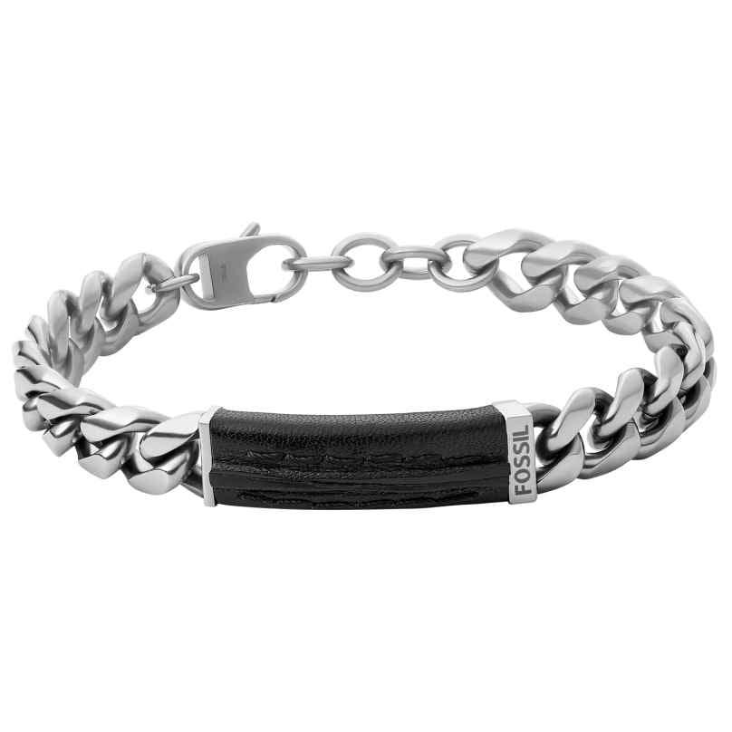 Fossil JF03724040 Herren-Armband Edelstahl / Leder 4064092061536
