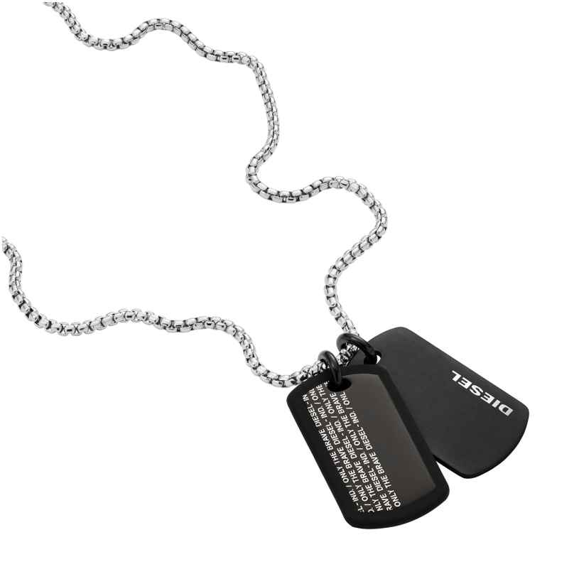 Diesel DX1287040 Herren-Halskette mit Dog Tag Anhänger Edelstahl 4064092050837
