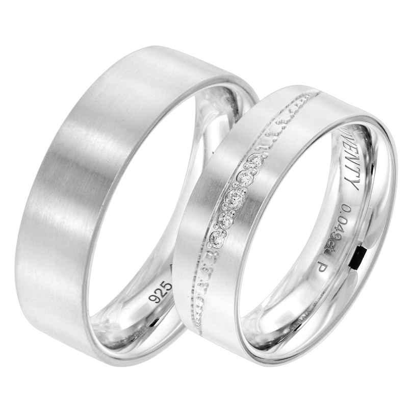 Viventy 8065 Verlobungsring Paar 925 Silber Diamanten