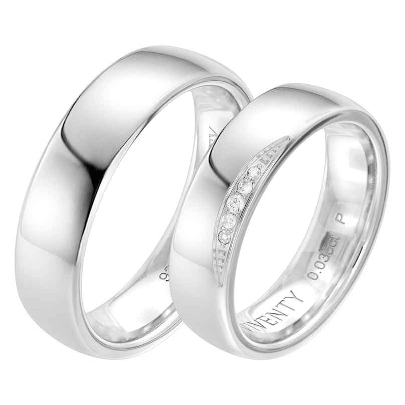 Viventy 8119 Verlobungsring Paar 925 Silber Diamanten