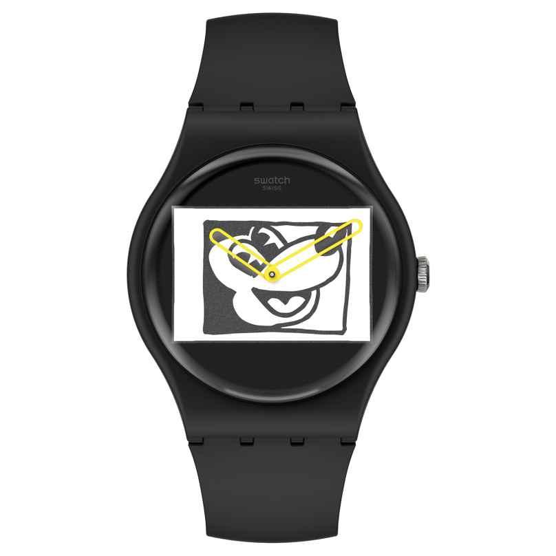 Swatch SUOZ337 Armbanduhr Keith Haring Mickey Blanc Sur Noir 7610522833166