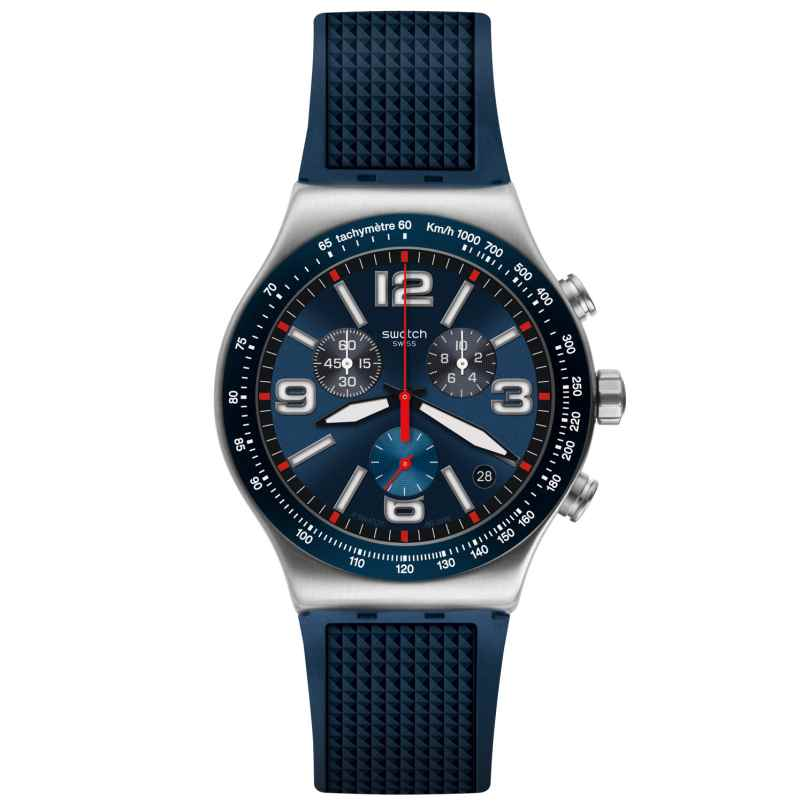 Swatch YVS454 Herrenuhr Chronograph Blue Grid 7610522800694