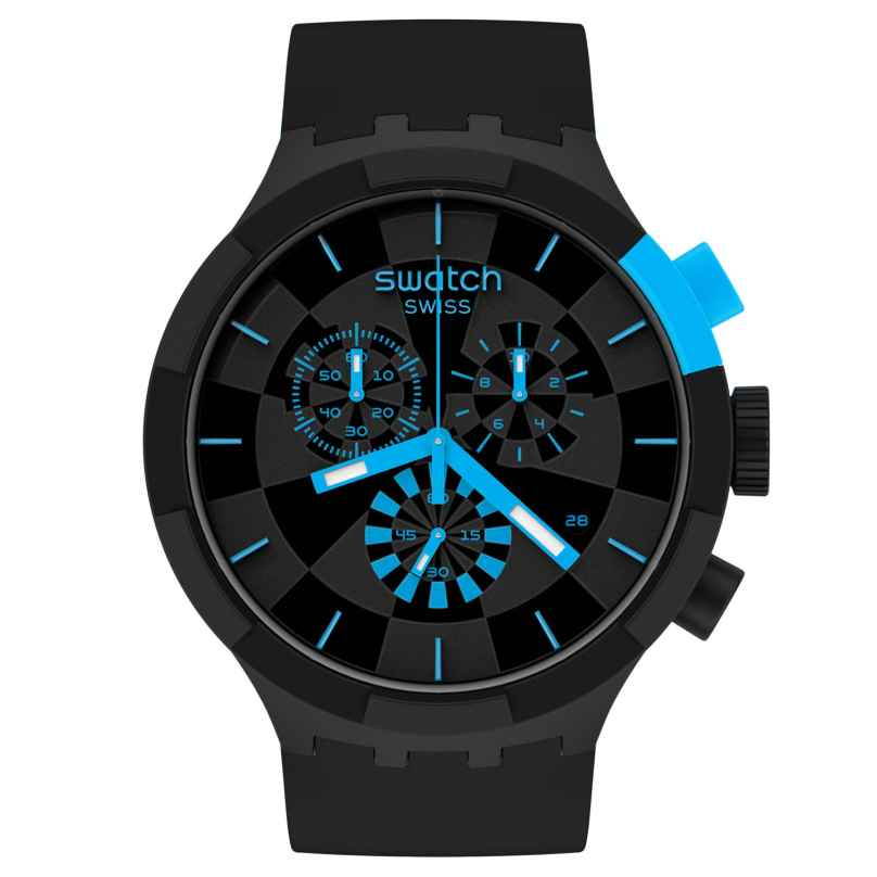 Swatch SB02B401 Big Bold Chrono Watch Checkpoint Blue 7610522832190