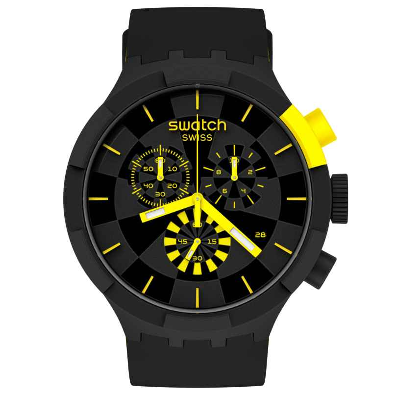 Swatch SB02B403 Big Bold Chrono Uhr Checkpoint Yellow 7610522832213