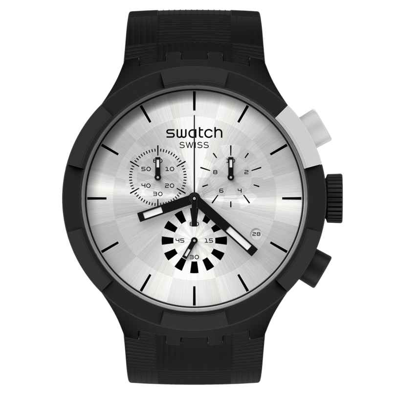 Swatch SB02B404 Big Bold Armbanduhr Chrono Chequered Silver 7610522834477