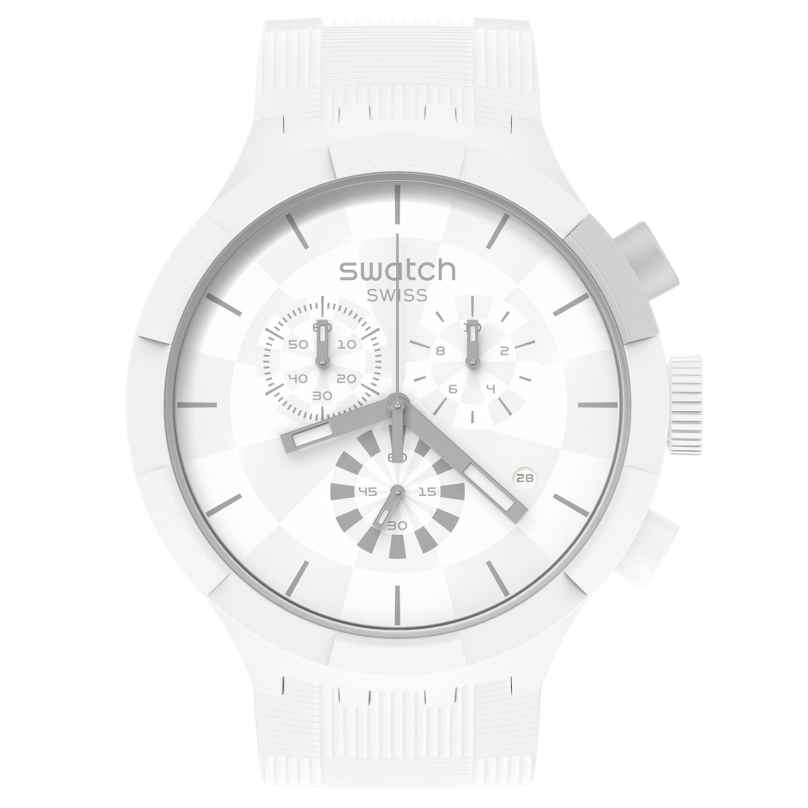 Swatch SB02W400 Big Bold Uhr Chronograph Chequered White 7610522834484