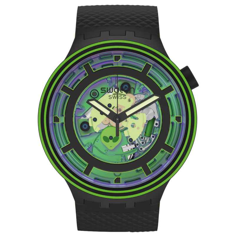 Swatch SB01B125 Big Bold Wristwatch with 2 Straps Come In Peace! 7610522842748