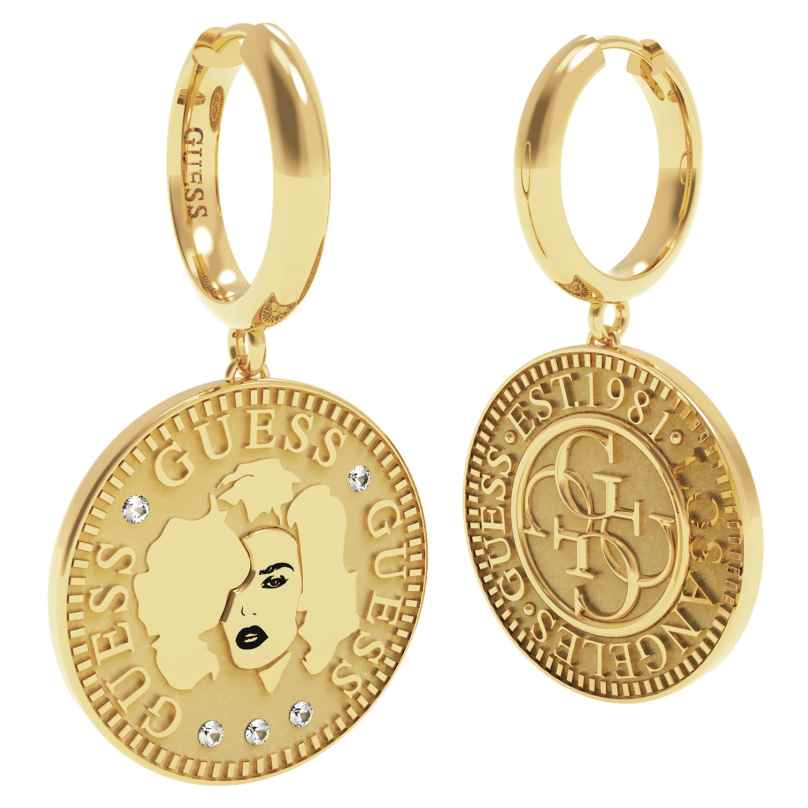 Guess UBE79156 Damen-Ohrringe Ohrhänger Edelstahl vergoldet Coin 7618584769027