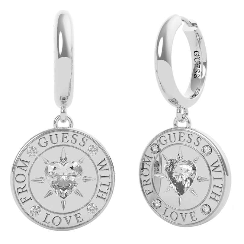 Guess JUBE70026JW Damen-Ohrringe Coin Ohrhänger With Love 7618483799484
