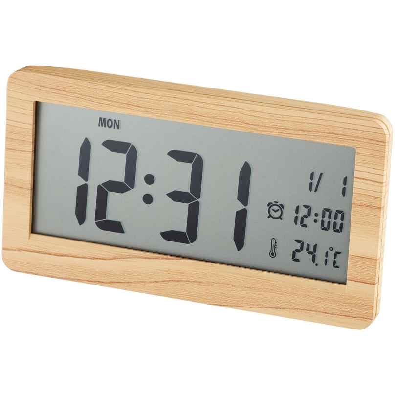 Dugena 4460962 Alarm Clock Digital Display Imitation Wood Light Brown 4060753000852