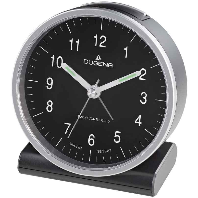 Dugena 4460944 Radio-Controlled Alarm Clock Silver / Black 4060753000678