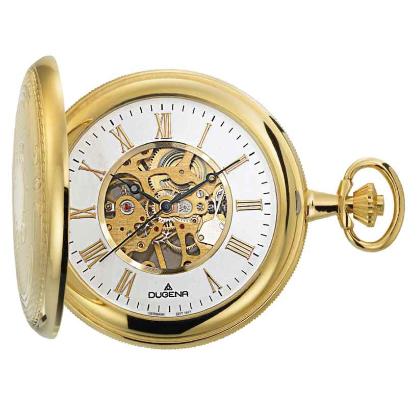 Dugena 4460307-1 Hand-Winding Skeleton Pocket Watch 4050645024509