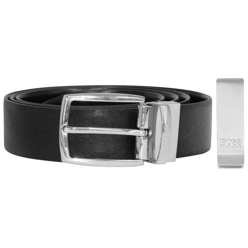 Boss 50402904-001 Gift Set with Men's Belt and Money Clip 4029049385578
