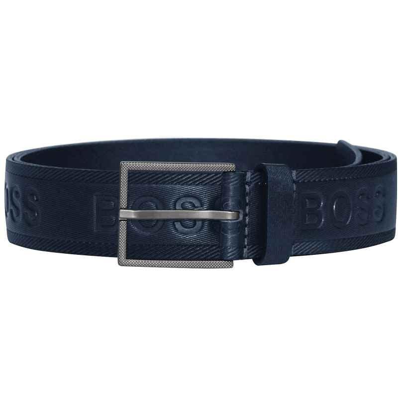 Boss 50430111-401 Men's Leather Belt Tril-Logo Dark Blue