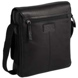 camel active 290-603-60 Men's Shoulder Bag Laredo Flapbag M Black Leather