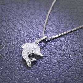 trendor 48801 Silber Halskette mit Delfin-Anhänger