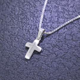 trendor 48870 Silver Children Necklace with Cross Pendant