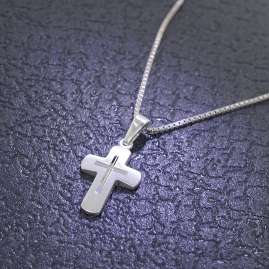 trendor 48887 Children Cross Pendant With Chain Silver