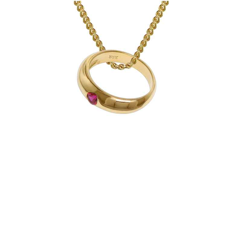 trendor 48665 Taufring Rubin Gold 333 mit 42 cm goldplattierter Halskette 4260143748665