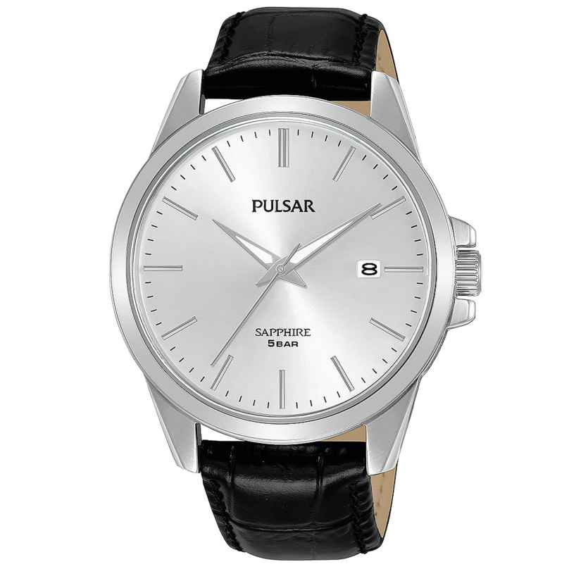 Pulsar PS9643X1 Herrenuhr mit schwarzem Lederband 4894138040429