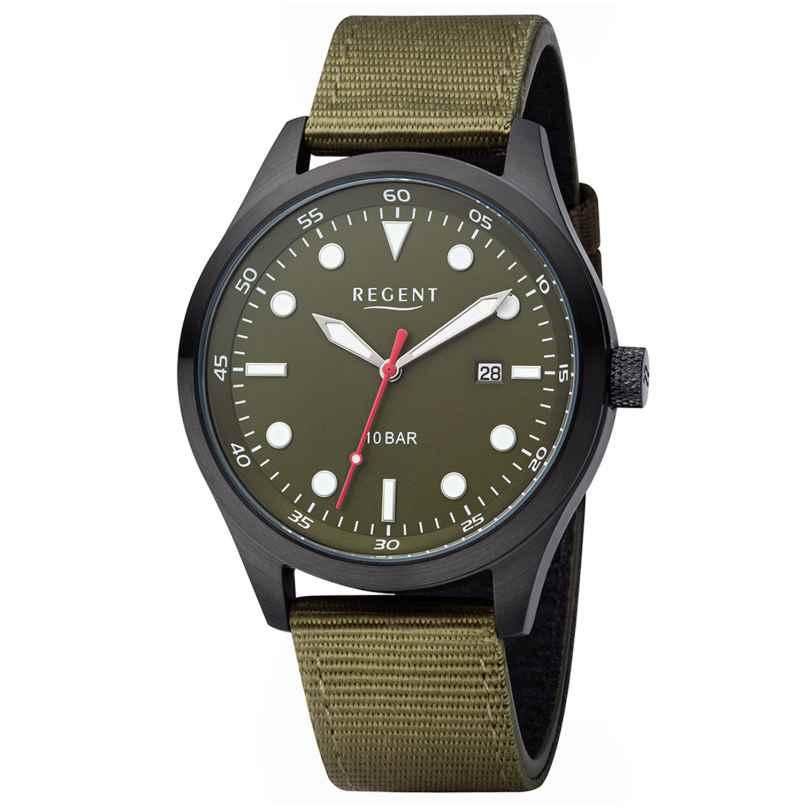 Regent BA-639 Men's Wristwatch Black/Olive WR 10 Bar Ø 42 mm 4050597195470