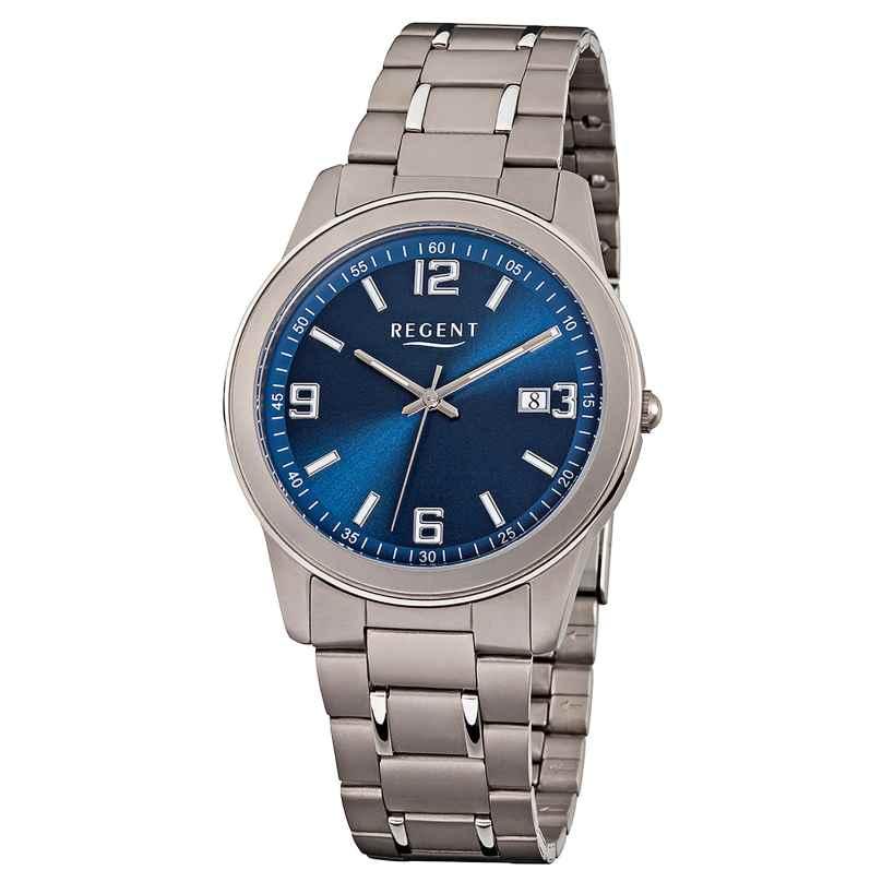 Regent F-840 Herren-Armbanduhr Titan/Blau 4045346088158