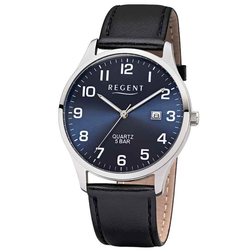 Regent F-1240 Herren-Armbanduhr mit Lederband Schwarz/Blau 4050597186386