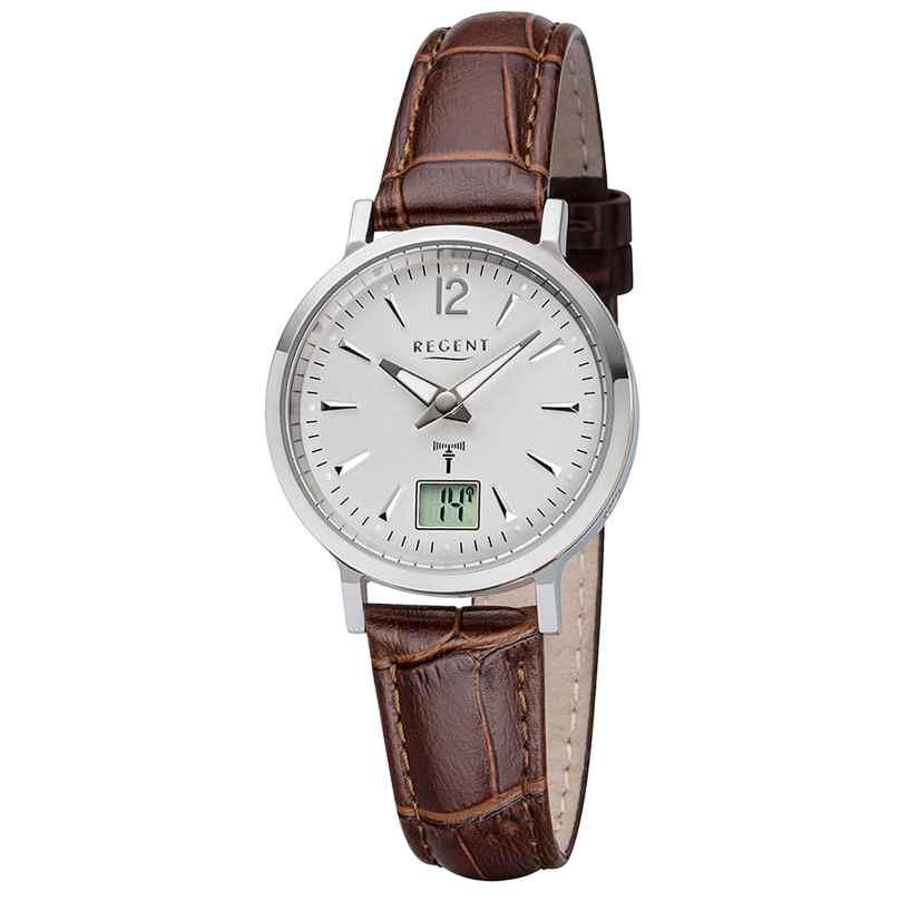 Regent R-256 Radio-Controlled Ladies' Watch Leather Strap Ø 30 mm 4050597188076