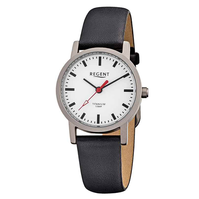 Regent F-240 Ladies' Watch Titanium Black Leather Strap Ø 27 mm 4045346026631