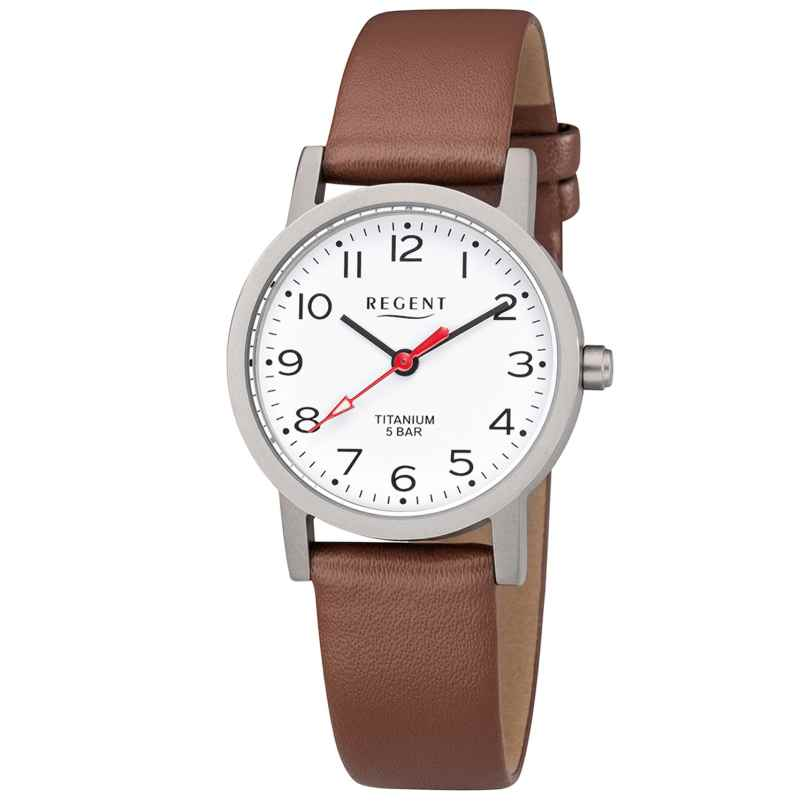 Regent F-1213 Ladies' Watch Titanium Leather Strap Ø 27 mm 4050597190321