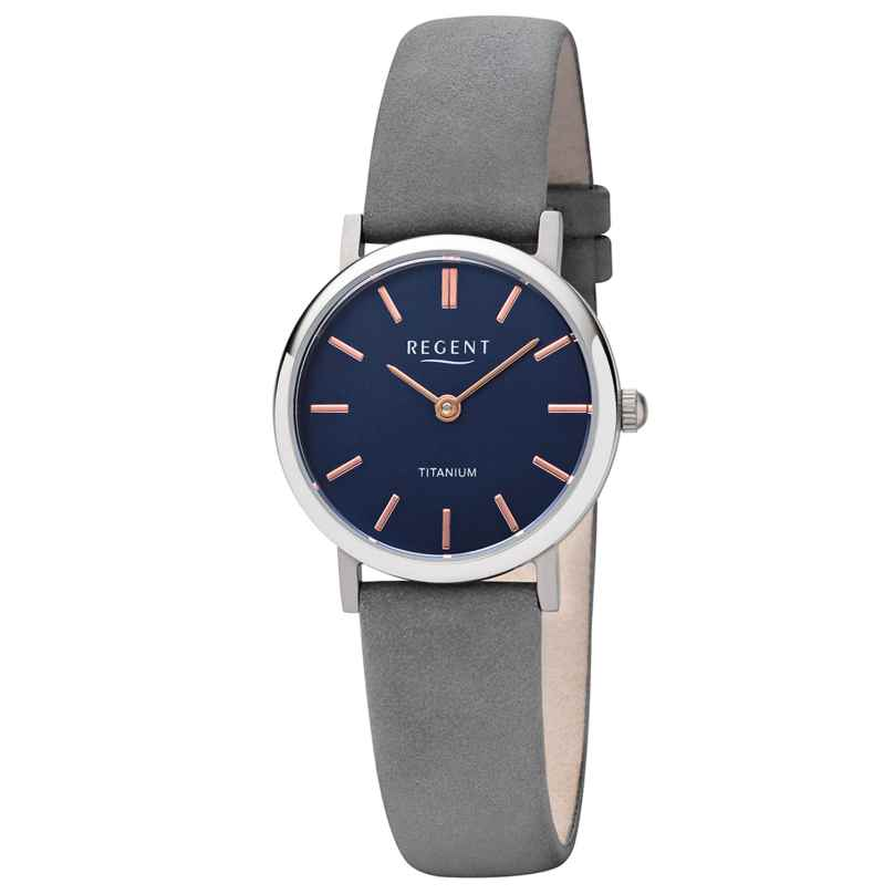 Regent F-1222 Ladies' Watch Titanium Grey Leather Strap Ø 27.5 mm 4050597190802