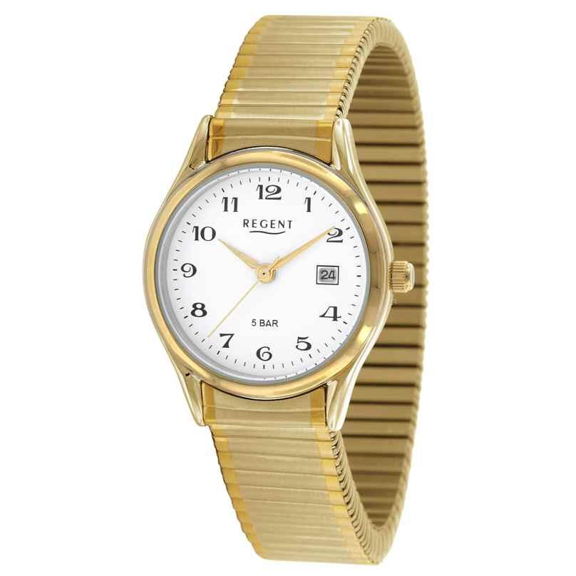 Regent F-894 Damen-Armbanduhr mit Zugband Vergoldet Ø 28 mm 4045346061045