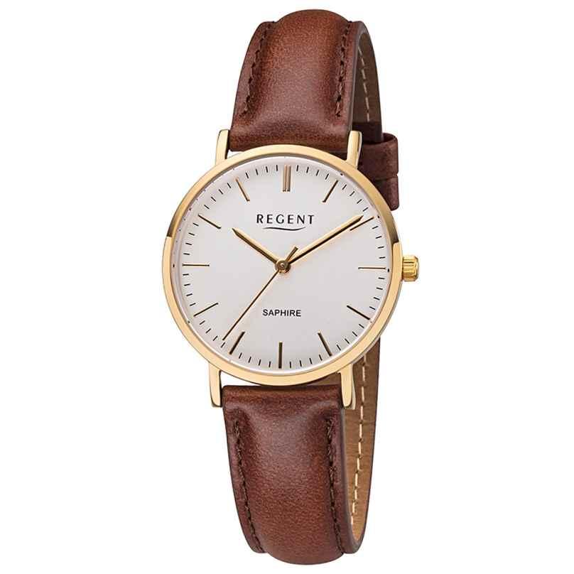 Regent F-1299 Damen-Armbanduhr Goldfarben mit Lederband Braun 4050597189059