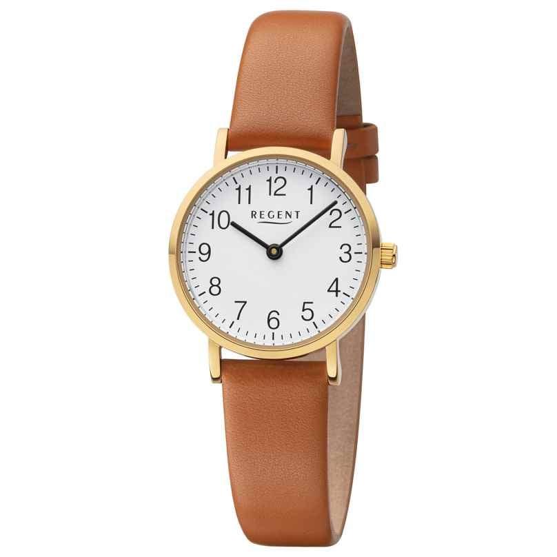 Regent F-1304 Damen-Armbanduhr Goldfarben mit Lederband Braun 4050597196330