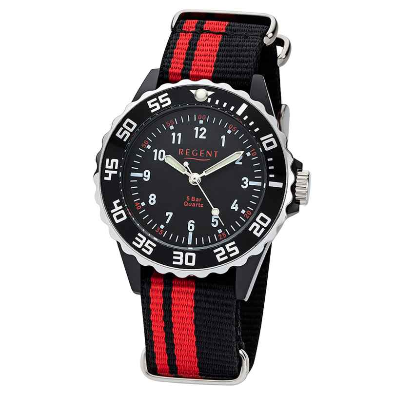 Regent F-1124 Kids Watch 5 Bar Water Resistant Black/Red Ø 36 mm 4050597184337