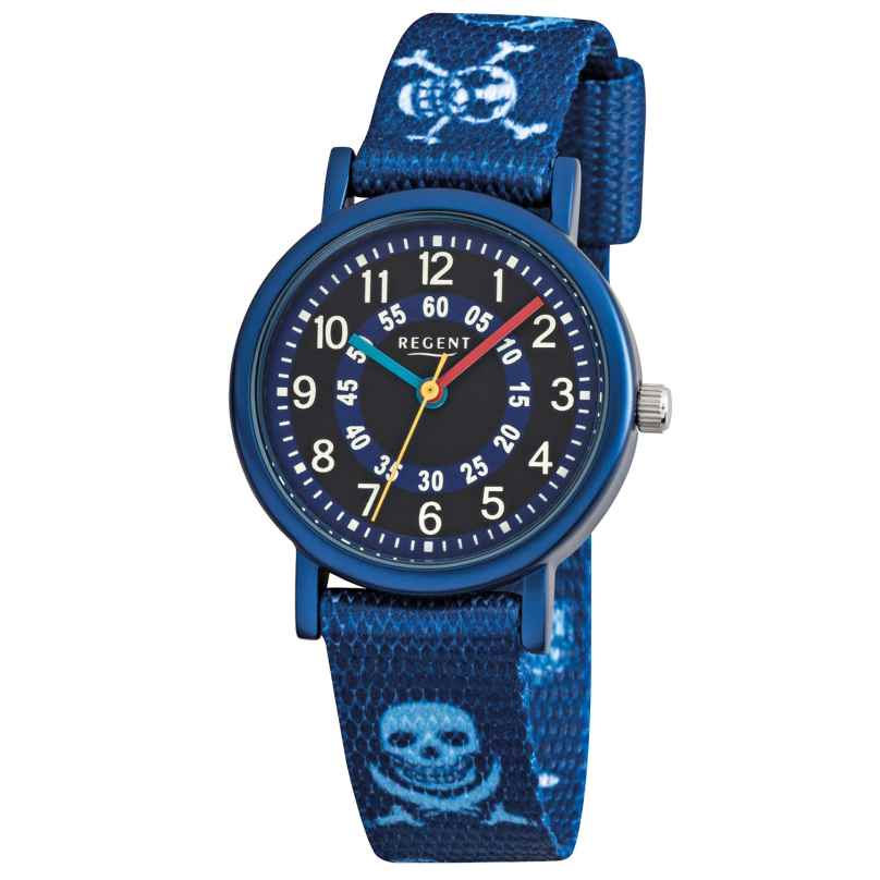 Regent F951 Aluminium Kids Watch with Textile Strap Pirate 4045346089209