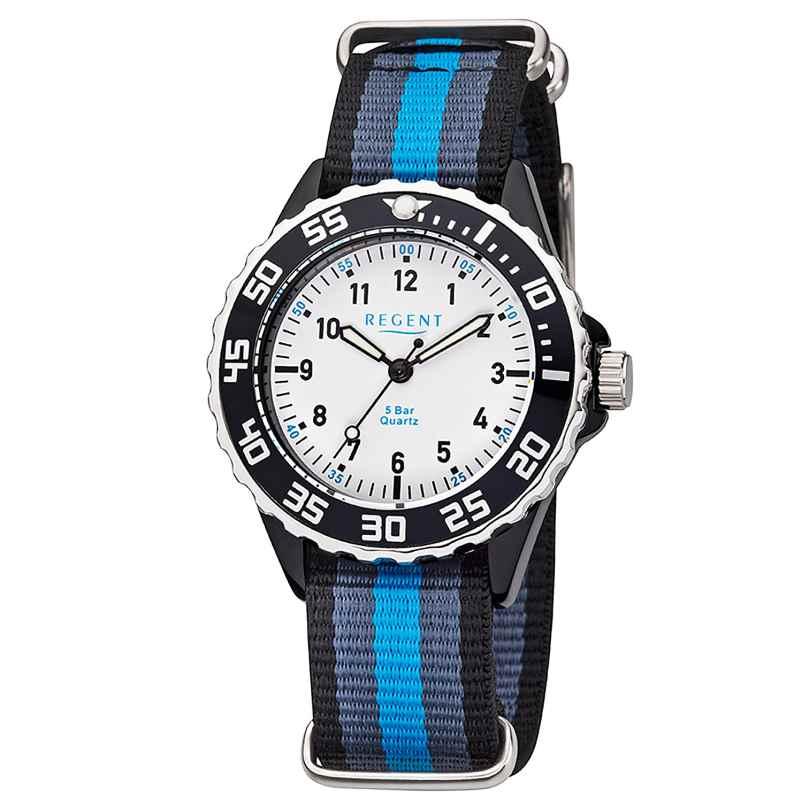 Regent F-1204 Kinder-Armbanduhr Schwarz/Grau/Blau 4050597188243
