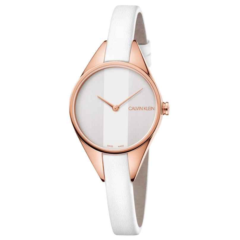 Calvin Klein K8P236L6 Damen-Armbanduhr Rebel Rosé/Weiß 7612635116914