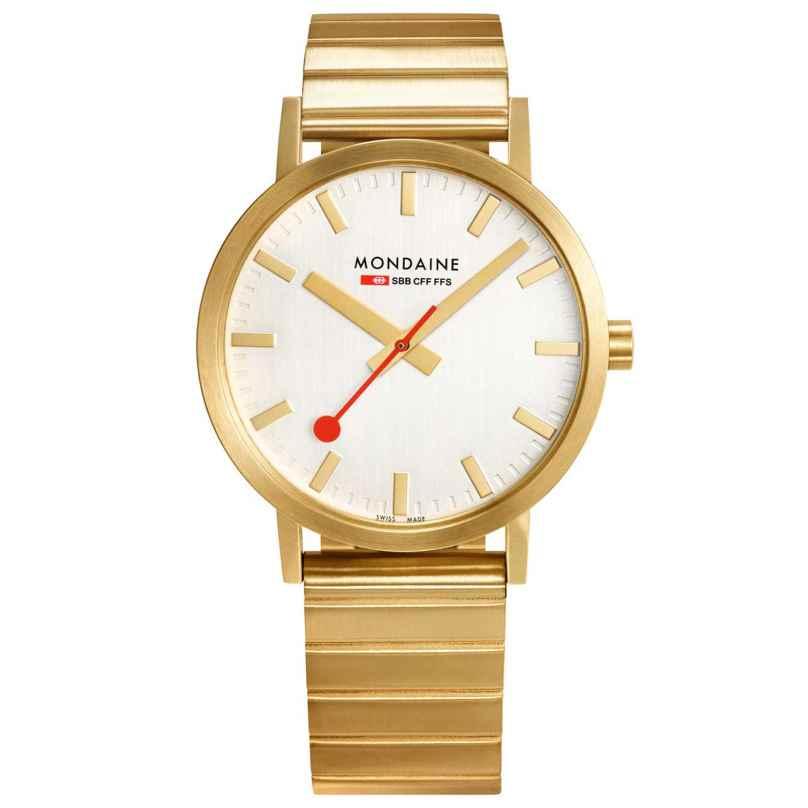 Mondaine A660.30314.16SBM Unisex-Armbanduhr Classic Goldfarben 7611382601285
