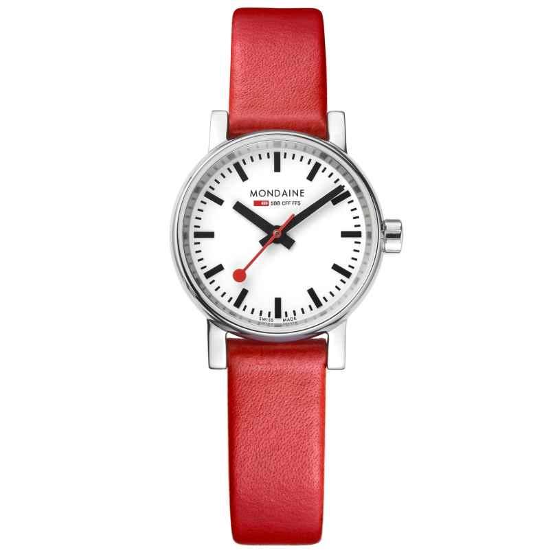 Mondaine MSE.26110.LC Damen-Armbanduhr mit rotem Lederband evo2 7630040908528