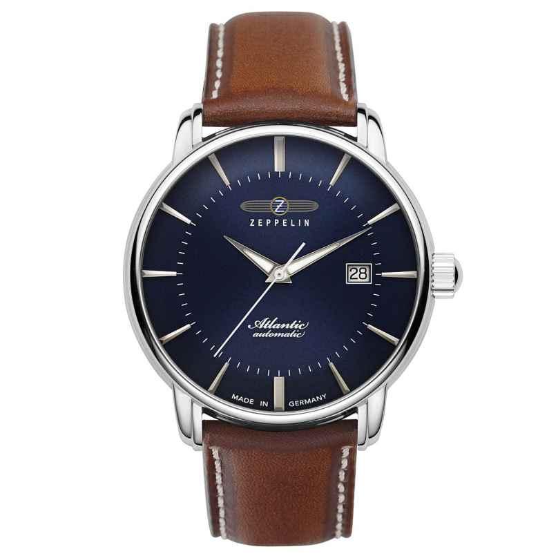 Zeppelin 8452-3 Men's Watch Automatic Atlantic Swiss Brown Leather Strap 4041338845235