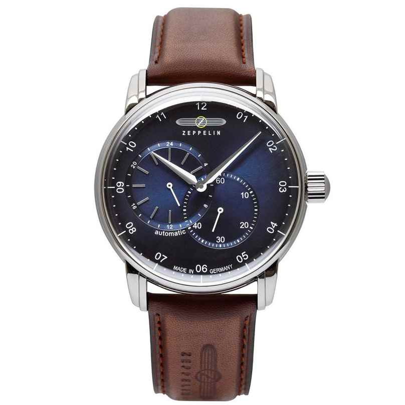Zeppelin 8662-3 Men's Watch Automatic New Captain's Line Brown/Blue 4041338866230