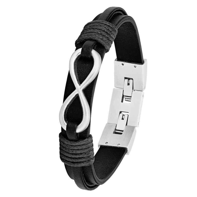 s.Oliver 2026136 Men's Leather Bracelet Black 4056867017503