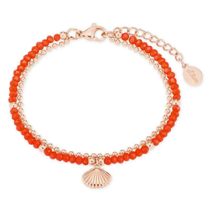 s.Oliver 2027600 Damen-Armband Armkette Muschel korallenrot/roségold 4056867020909